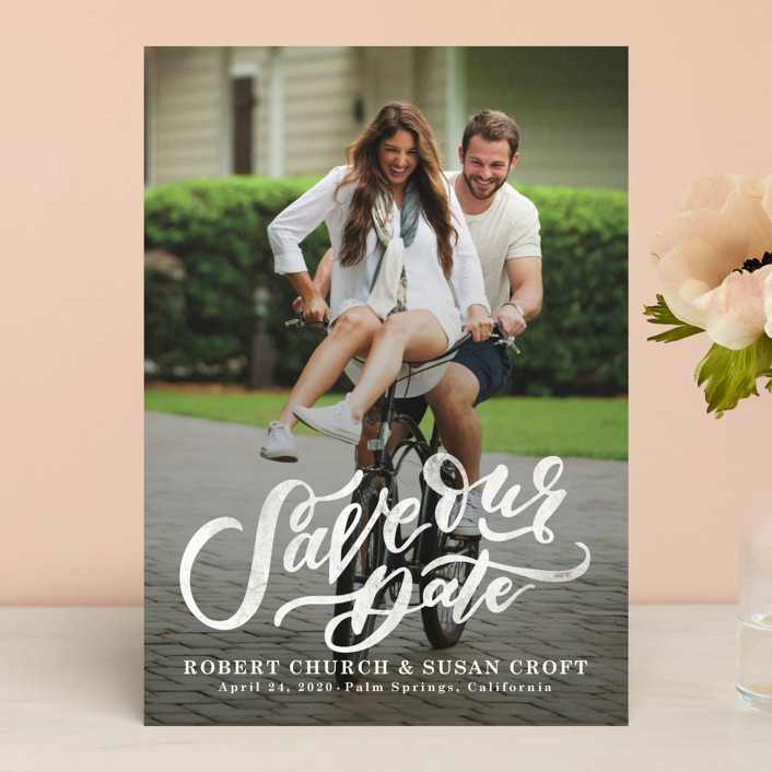 """""""Love Letters"""" - Bohemian Save The Date Cards in Pearl by Wildfield Paper Co.."""