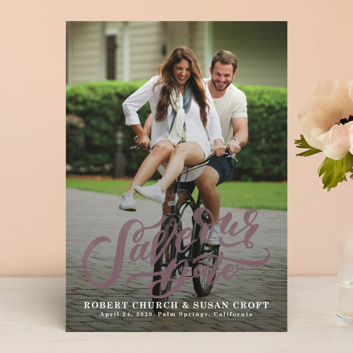 """Love Letters"" - Bohemian Save The Date Cards in Pearl by Wildfield Paper Co.."