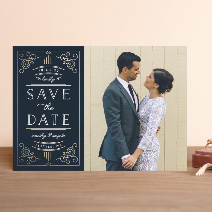 """Modern Deco"" - Vintage Save The Date Cards in Navy by Kelly Schmidt."