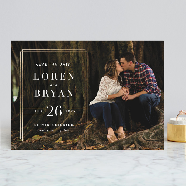 """Modern Elegance"" - Modern Save The Date Cards in Golden by Alyssa Graves."