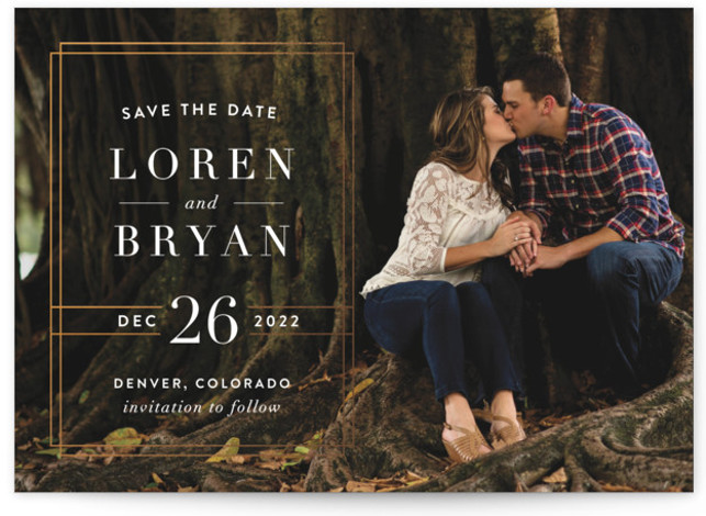 This is a landscape, portrait modern, orange Save the Dates by Alyssa Graves called Modern Elegance with Standard printing on Smooth Signature in Classic Flat Card format. Inspired by elements in a historic opera house near Detroit, MI, this sophisticated ...