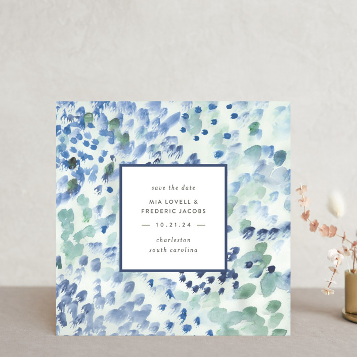 """Painted"" - Save The Date Cards in Sea Glass by Sara Hicks Malone."
