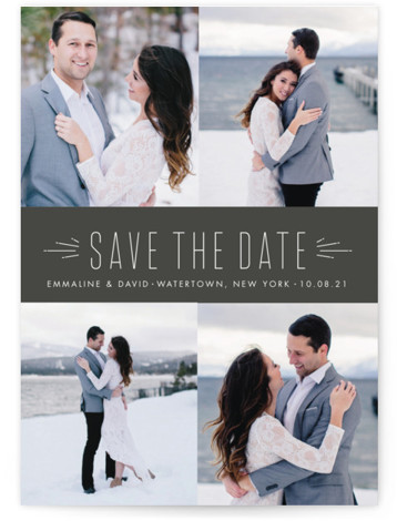 This is a landscape, portrait modern, grey Save the Dates by Sara Hicks Malone called Radiant with Standard printing on Smooth Signature in Classic Flat Card format. Multi photo classic