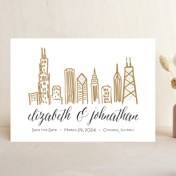 """""""Chicago Skyline"""" - Save The Date Cards in Gold Coast by Abby Munn."""