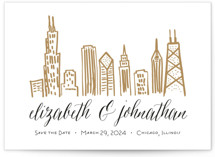 This is a brown save the date by Abby Munn called Chicago Skyline with standard printing on signature in standard.