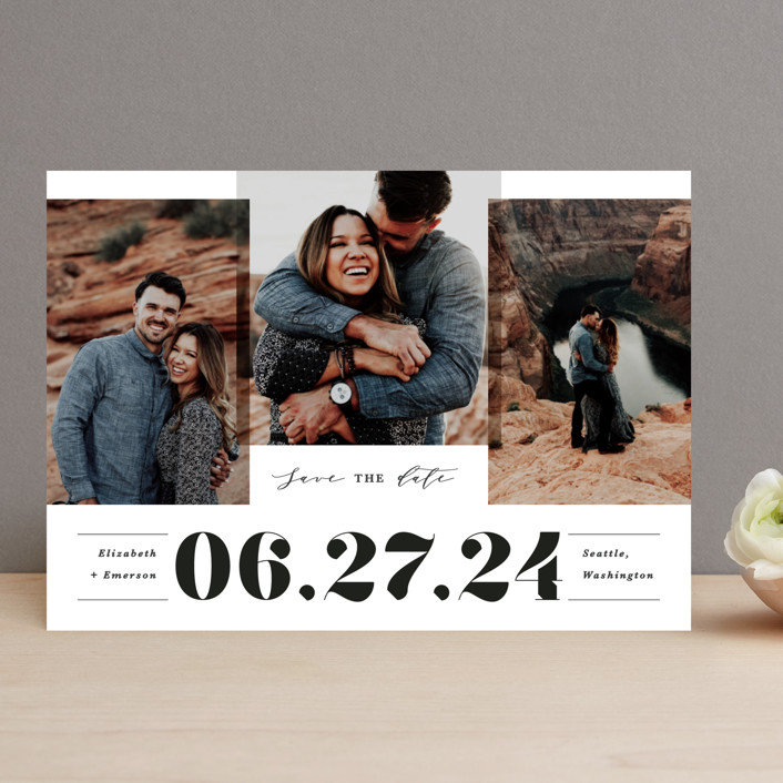 """Bold trio"" - Bold typographic Save The Date Cards in Ivory by Creo Study."