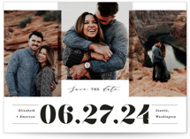This is a white save the date by Creo Study called Bold trio with standard printing on smooth signature in standard.