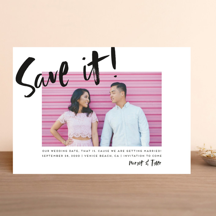 """""""Huge day"""" - Modern Save The Date Cards in Tuxedo by Simona Camp."""