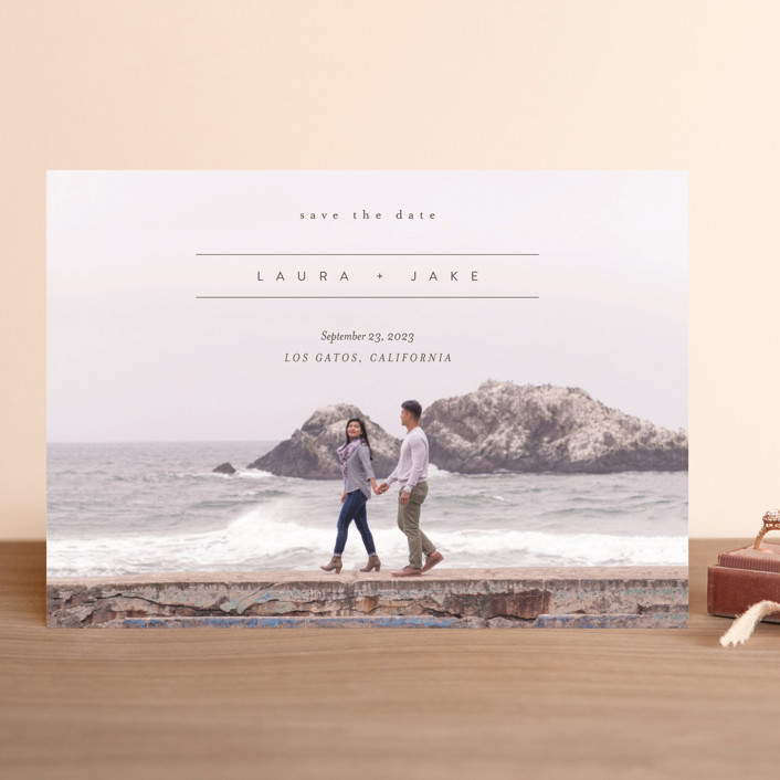 """""""About Our Love"""" - Save The Date Cards in Dark Olive by Eric Clegg."""