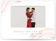 This is a pink save the date by Creo Study called Gushing in with standard printing on signature in standard.
