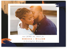 This is a blue save the date by Kate Ross called Gallery Crush with standard printing on signature in standard.