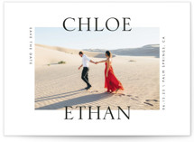 This is a white save the date by Erin Deegan called Split with standard printing on signature in standard.