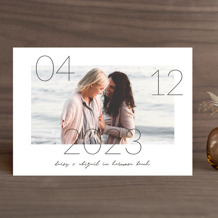 """""""Lucky Date"""" - Save The Date Cards in Snow by Simona Camp."""