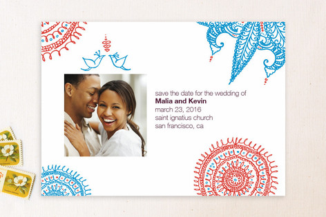 Joyful Lovebirds Save The Date Cards