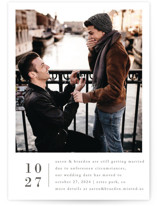 This is a white save the date by Amy Kross called Stacked Banner with standard printing on smooth signature in standard.