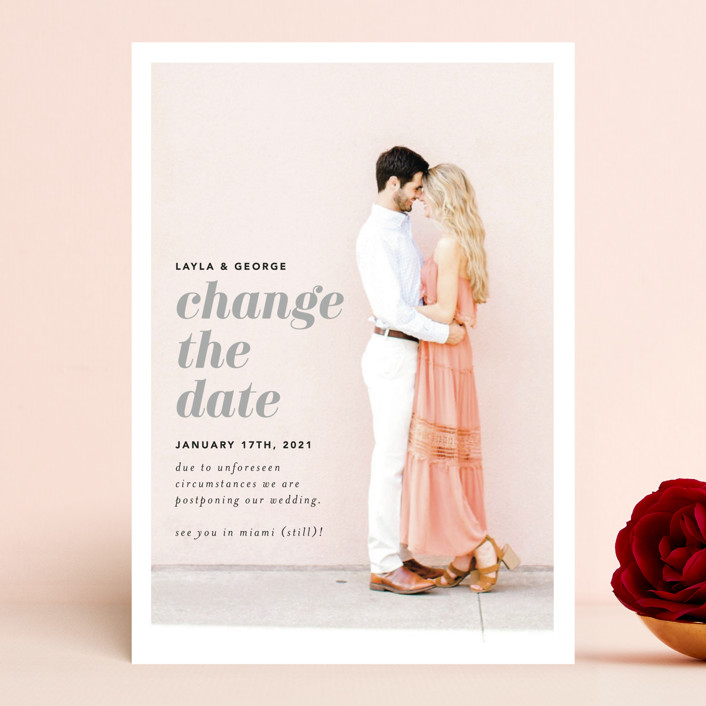 """""""Meet Us In Miami"""" - Save The Date Cards in Blush by Laura Hamm."""