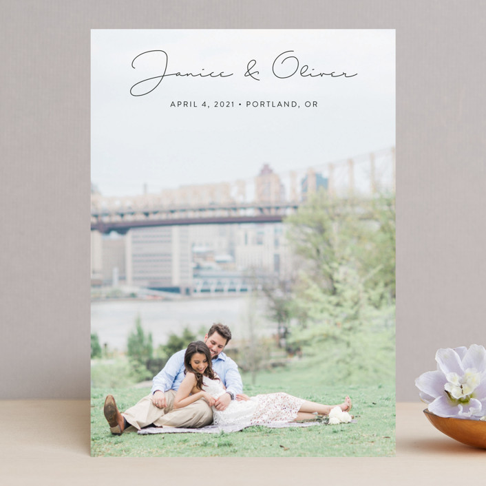 """""""Breezy"""" - Minimalist, Simple Save The Date Cards in Tuxedo by Ann Gardner."""
