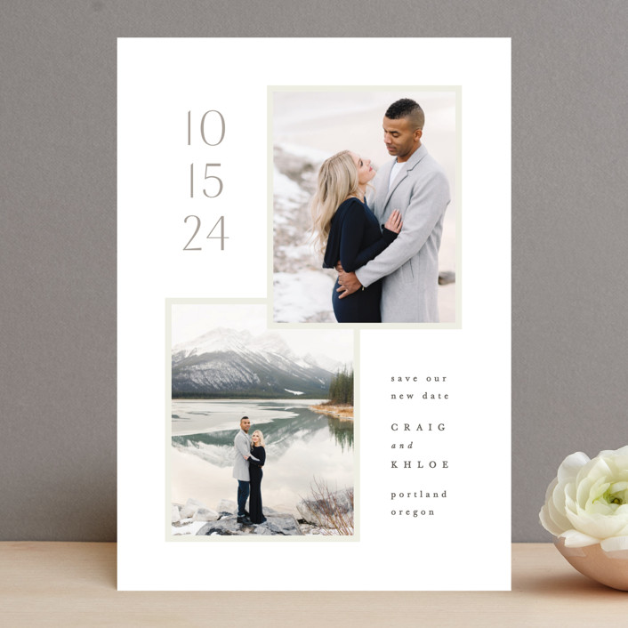 """Modern duo"" - Save The Date Cards in Taupe by Hooray Creative."