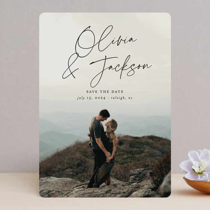 """""""Signed"""" - Save The Date Cards in Onyx by Ashley Rosenbaum."""