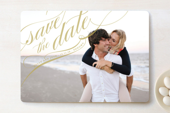 """""""Flourish"""" - Classical, Elegant Save The Date Cards in Gold by annie clark."""