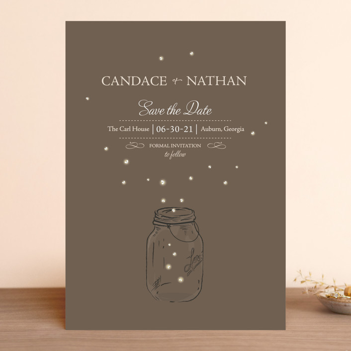 """Fireflies"" - Rustic Save The Date Cards in Earth by cadence paige design."