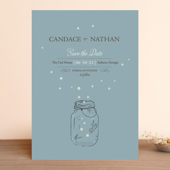 """""""Fireflies"""" - Rustic Save The Date Cards in Cornflower by cadence paige design."""