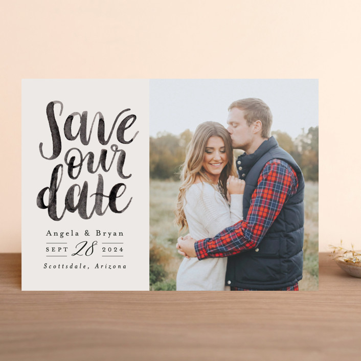 """""""Brushed Date"""" - Save The Date Cards in Sand by Pink House Press."""