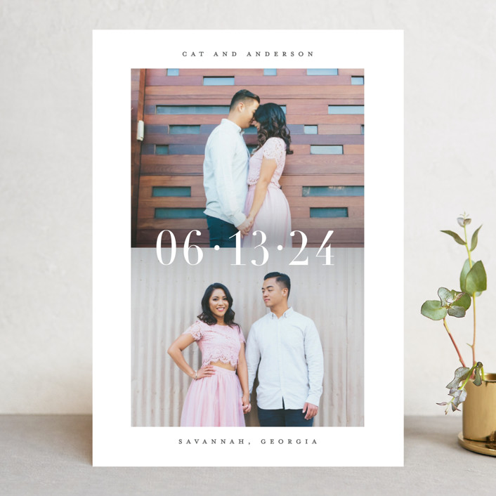 """""""Split"""" - Save The Date Cards in Charcoal by Lauren Chism."""