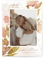 This is a yellow save the date by Chris Griffith called Impressions of Love with standard printing on recycled in standard.