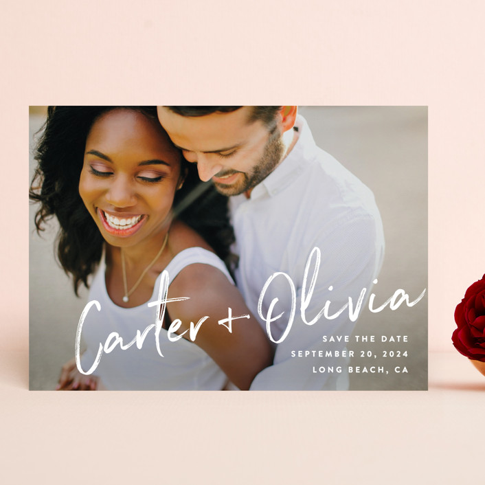 """""""Signature"""" - Save The Date Cards in Pearl by Owl and Toad."""
