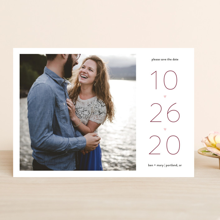 """Our Heart"" - Save The Date Cards in Vanilla by JoAnn Jinks."