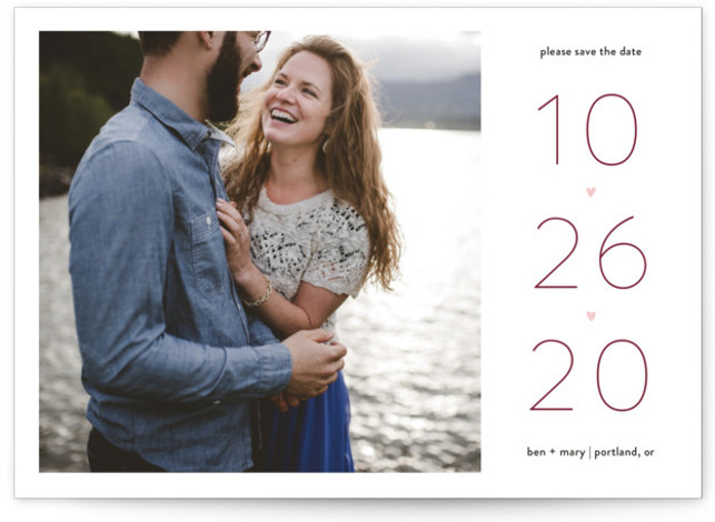 This is a landscape bold and typographic, pink, red Save the Dates by JoAnn Jinks called Our Heart with Standard printing on Signature in Classic Flat Card format. Share the news of your big day with sweet and loving simplicity. ...