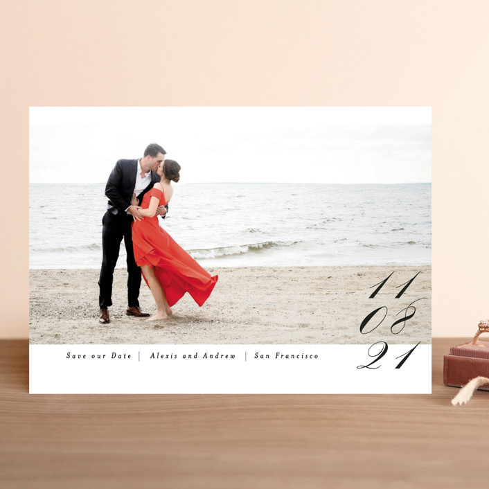 """Date in Script"" - Save The Date Cards in Onyx by Angela Marzuki."