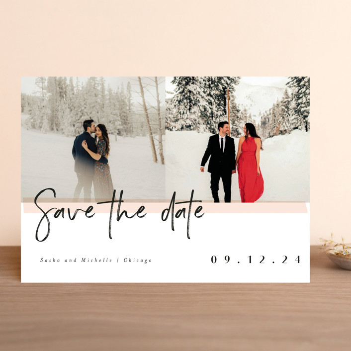 """pavlova"" - Modern Save The Date Cards in Peach by chocomocacino."