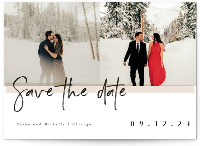 This is a landscape modern, brown Save the Dates by chocomocacino called pavlova with Standard printing on Signature in Classic Flat Card format. Brushy framed photo card