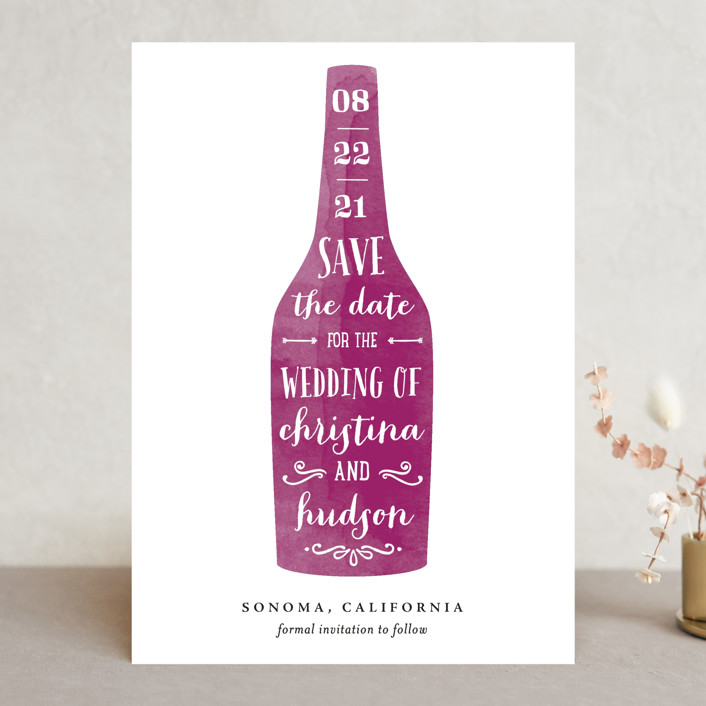 """Winery"" - Save The Date Cards in Merlot by Chryssi Tsoupanarias."