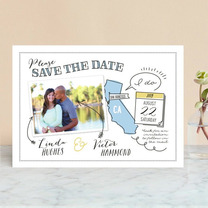 """""""Write It In Ink"""" - Save The Date Cards in Lemongrass by Ann Gardner."""