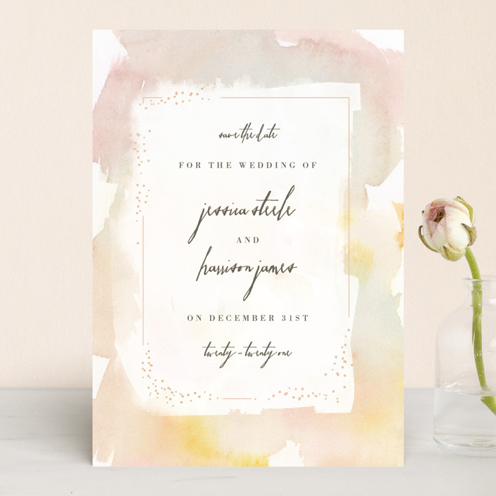 """Pretty"" - Save The Date Cards in Peony by Lori Wemple."