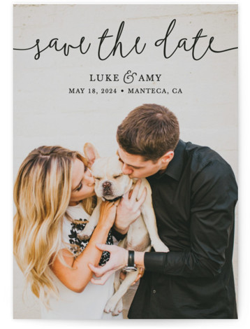This is a landscape, portrait, square orientation classic and formal, black Save the Dates by Christine Taylor called Pretty Love with Standard printing on Signature in Classic fold over (blank inside) format. Announce your upcoming marriage with this classic, typographic, ...