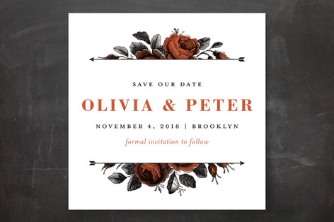 Roses and Arrows Save The Date Cards