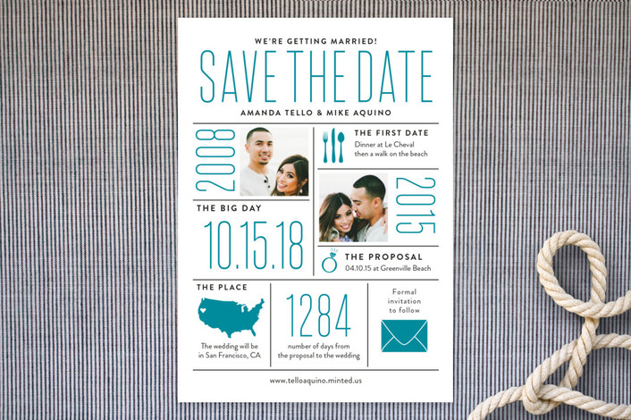 """""""The Stats"""" - Whimsical & Funny Save The Date Cards in Sea by Sarah Guse Brown."""