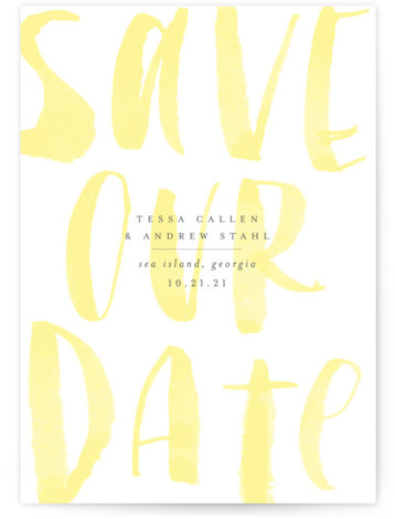 This is a portrait bold and typographic, yellow Save the Dates by Sara Hicks Malone called Bare with Standard printing on Signature in Classic Flat Card format. Minimally elegant