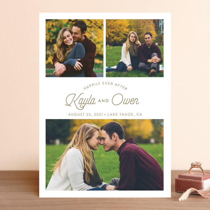 """Ever After"" - Save The Date Cards in Mocha by Shirley Lin Schneider."