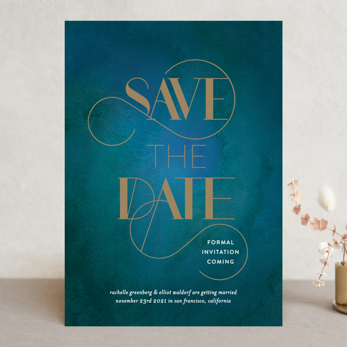 """Gilded Elegance"" - Save The Date Cards in Peacock by Simona Camp."