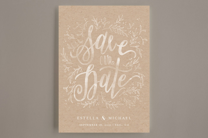 """""""Hand Lettered Sun-kissed Vines"""" - Rustic Save The Date Cards in Golden by Grace Kreinbrink."""