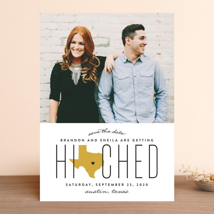 """Hitched in Texas"" - Save The Date Cards in Golden by Erica Krystek."