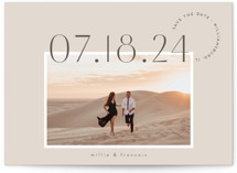 This is a beige save the date by chocomocacino called verines with standard printing on smooth signature in standard.