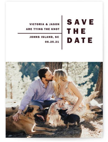 This is a bold and typographic, minimalist, simple, purple Save the Dates by Alethia Frye called Baseline with Standard printing on Smooth Signature in Classic Flat Card format. This modern take on a save date features a sleek bold simple ...