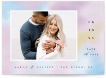 This is a pink save the date by Katie Zimpel called Rainbow Haze with standard printing on triplethick in standard.