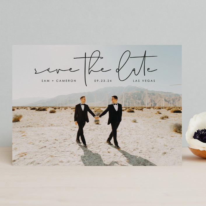 """""""Simple Modern"""" - Save The Date Cards in Onyx by Erin Deegan."""